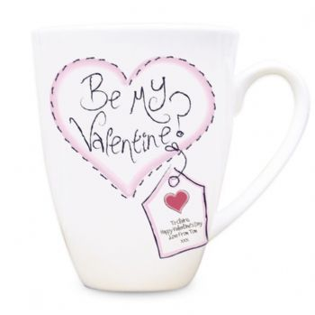 Stitch Heart Be My Valentine Latte Mug